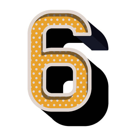 number six: three-dimensional number six dotted in yellow color vector illustration