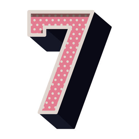 number seven: three-dimensional number seven dotted in pink color vector illustration