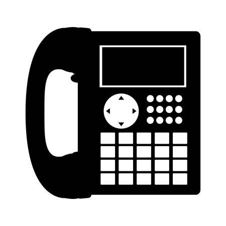 teléfono de la oficina negro silueta con la ilustración vectorial cable