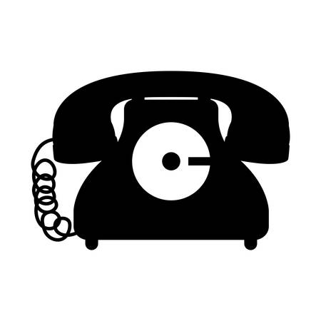 black silhouette antique phone icon with cord vector illustration