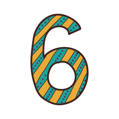 number six: colorful number six design with striped and dotted vector illustration Illustration