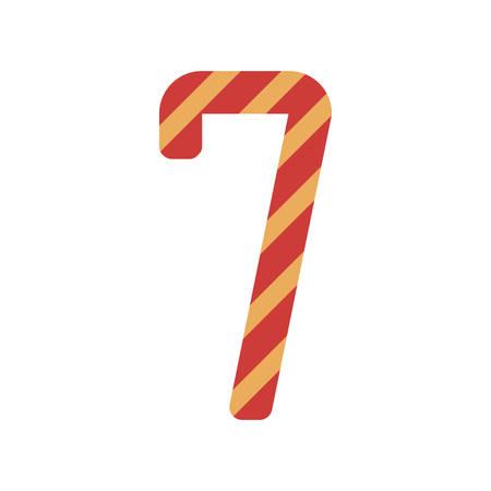 number seven: number seven design with diagonal colorful striped vector illustration