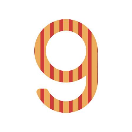 number nine design with vertical colorful striped vector illustration Illustration