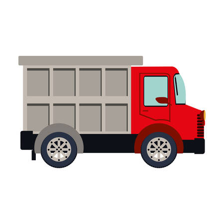 colorful silhouette with dump truck vector illustration