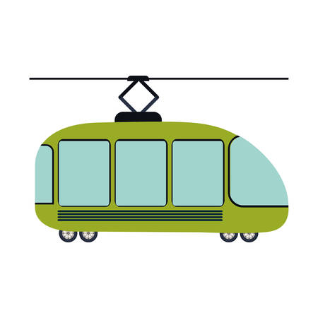 colorful silhouette with trolley car vector illustration