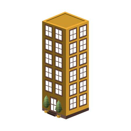 사무실 건물 벡터 일러스트와 함께 다채로운 실루엣