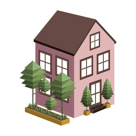 residential tree service: silhouette colorful house with two floors and trees vector illustration