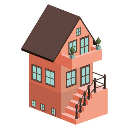 external: silhouette colorful house with two floors and external stair vector illustration