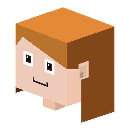 light brown hair: head   girl with light brown hair vector illustration