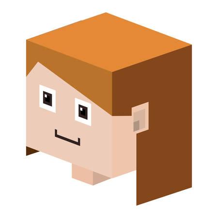 pelo castaño claro: la cabeza joven con el pelo ilustración vectorial de color marrón claro Vectores
