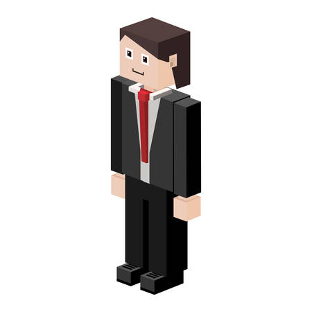fullbody: silhouette man with formal suit vector illustration