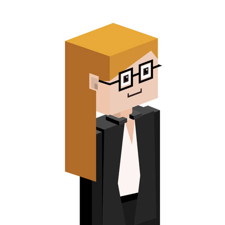 female judge: half body female judge with glasses vector illustration Illustration
