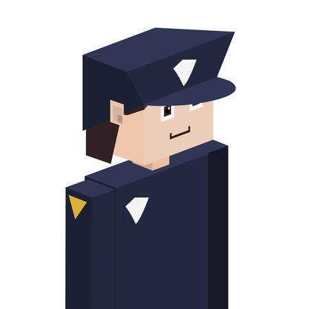 body guard: silhouette with policeman half body vector illustration Illustration