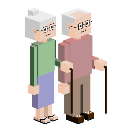 gerontology: elderly couple with walking stick vector illustration
