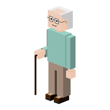 gerontology: silhouette elder with walking stick vector illustration