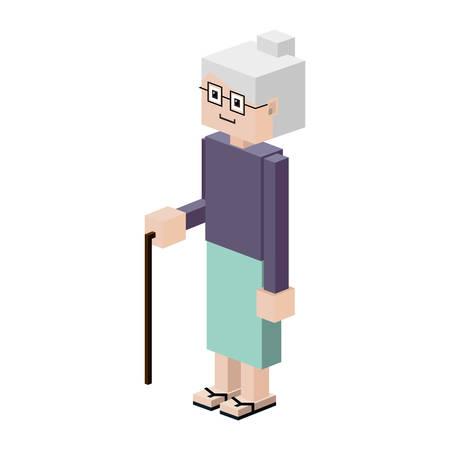 gerontology: silhouette elderly woman with walking stick vector illustration Illustration