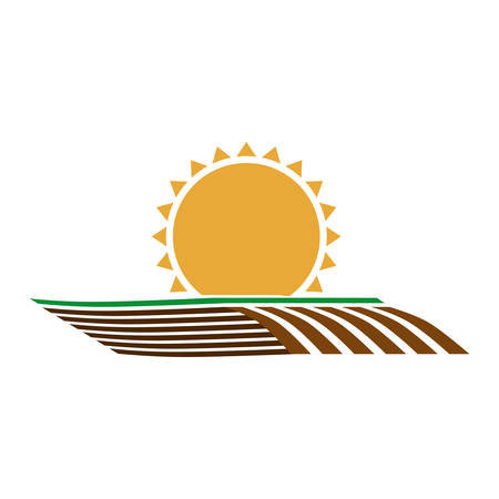 silhouette colorful seeding with horizont sun vector illustration