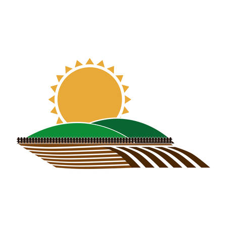 silhouette colorful seeding with mountain and sun vector illustration
