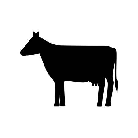 silhouette monochrome with farm cow vector illustration