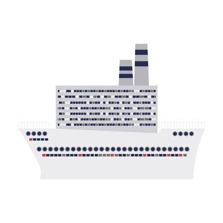 caribbean cruise: cruise ship design flat icon vector illustration