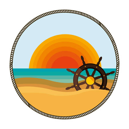 background sunset with boat helm vector illustration
