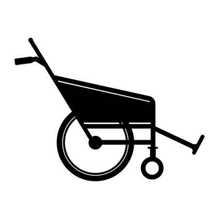 black silhouette reclining wheelchair flat icon vector illustration