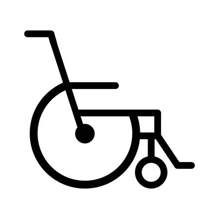 black silhouette abstract reclining wheelchair flat icon vector illustration