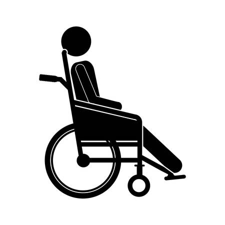 person sitting wheelchair flat icon vector illustration
