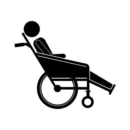 person sitting in reclining wheelchair flat icon vector illustration Illustration