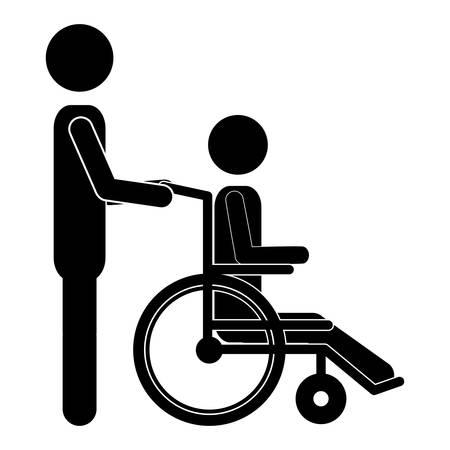 silueta persona ayudar a otro empujar una silla de ruedas