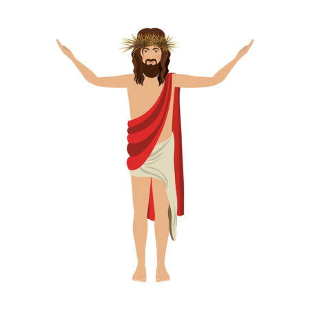 man long hair: jesus christ with crown of thorns vector illustration