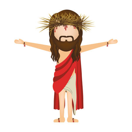 man long hair: avatar jesus christ with crown of thorns Illustration