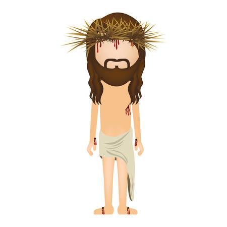 robo: Avatar de Jesucristo con la corona de espinas ilustración vectorial Vectores