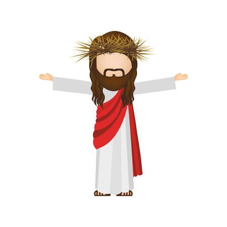 man long hair: avatar religious design of jesus christ vector illustration