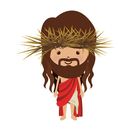 stole: avatar jesus christ with stole and crown thorns vector illustration