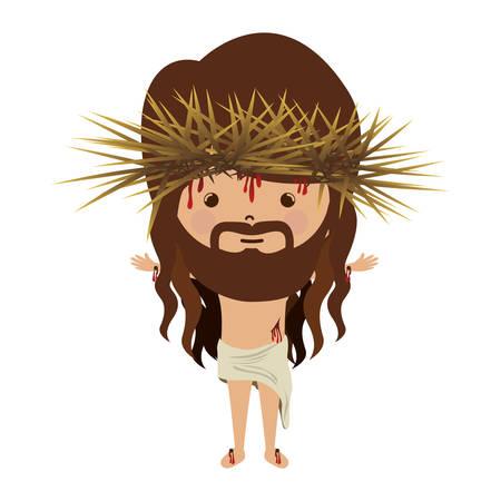 corona de espinas: Avatar de Jesucristo con la corona de espinas y la ilustración vectorial bood