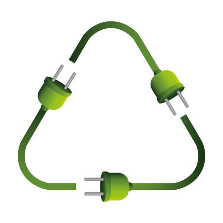 plugs: plugs in recycling symbol shape vector illustration