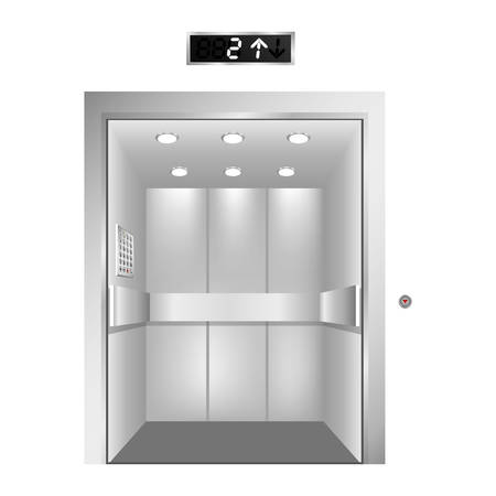sliding scale: silhouette elevator gray scale with opened door vector illustration