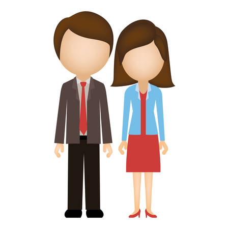 silhouette colorful of couple in formal suite without face vector illustration
