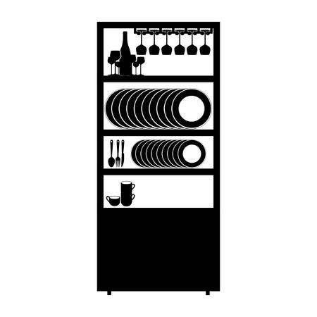 larder: monochrome cupboard with items of kitchen vector illustration