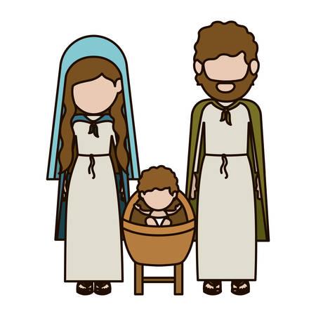 nativety: Holy family icon. Nativity merry christmas season and decoration theme. Isolated design. Vector illustration