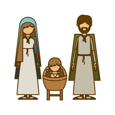 Holy family icon. Nativity merry christmas season and decoration theme. Isolated design. Vector illustration