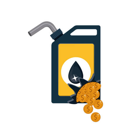 Gasoline can and coins icon. Oil industry price and commerce theme. Isolated design. Vector illustration