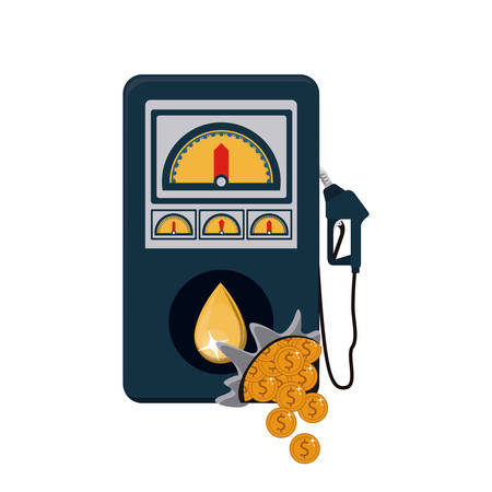 commerce and industry: Gasoline pump and coins icon. Oil industry price and commerce theme. Isolated design. Vector illustration Illustration