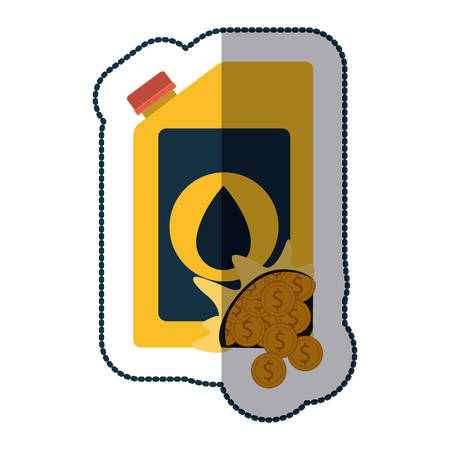 petrochemical: Gasoline can and coins icon. Oil industry price and commerce theme. Isolated design. Vector illustration