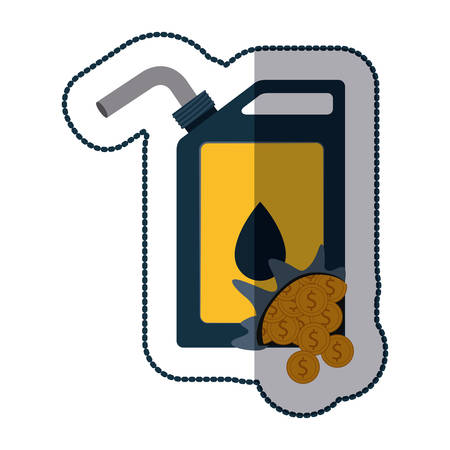 commerce and industry: Gasoline can and coins icon. Oil industry price and commerce theme. Isolated design. Vector illustration