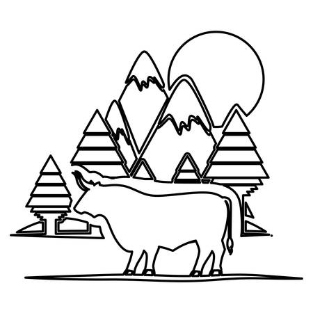 horned: Bull and forest icon. Animal horned cow nature and wildlife theme. Isolated design. Vector illustration