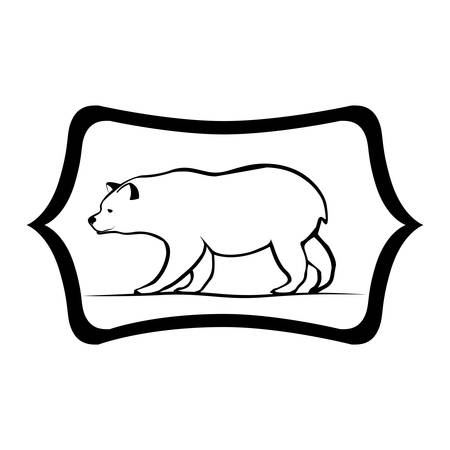 Bear inside label icon. Animal wild nature wildlife and character theme. Isolated design. Vector illustration