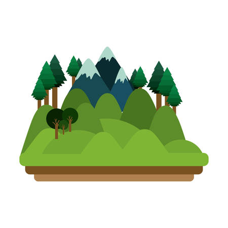 Forest and mountain icon. Landscape nature outdoor beautiful and season theme. Isolated design. Vector illustration Vetores