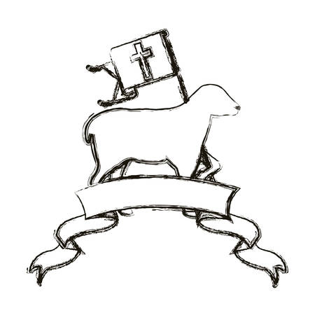 faithful: Sheep and ribbon icon. Religion god pray faith and believe theme. Isolated design. Vector illustration